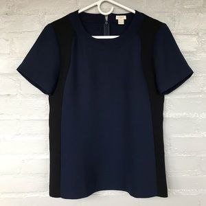J. Crew  navy blue and black short sleeve blouse 2